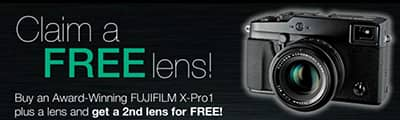 Free second lens when you buy a Fujifilm X-PRO1 and 1 lens