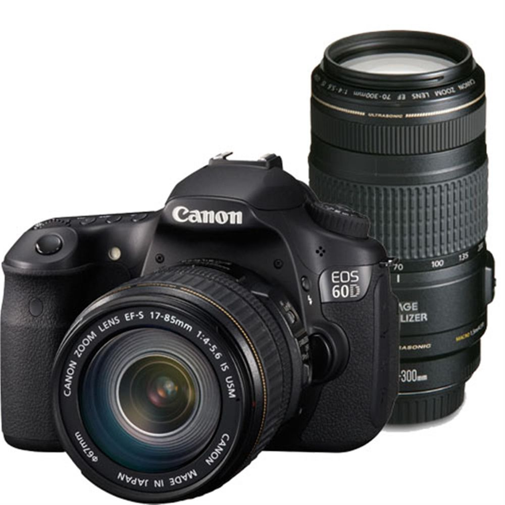 canon eos 60d digital slr camera with 17 85 is lens and 70 300 is lens