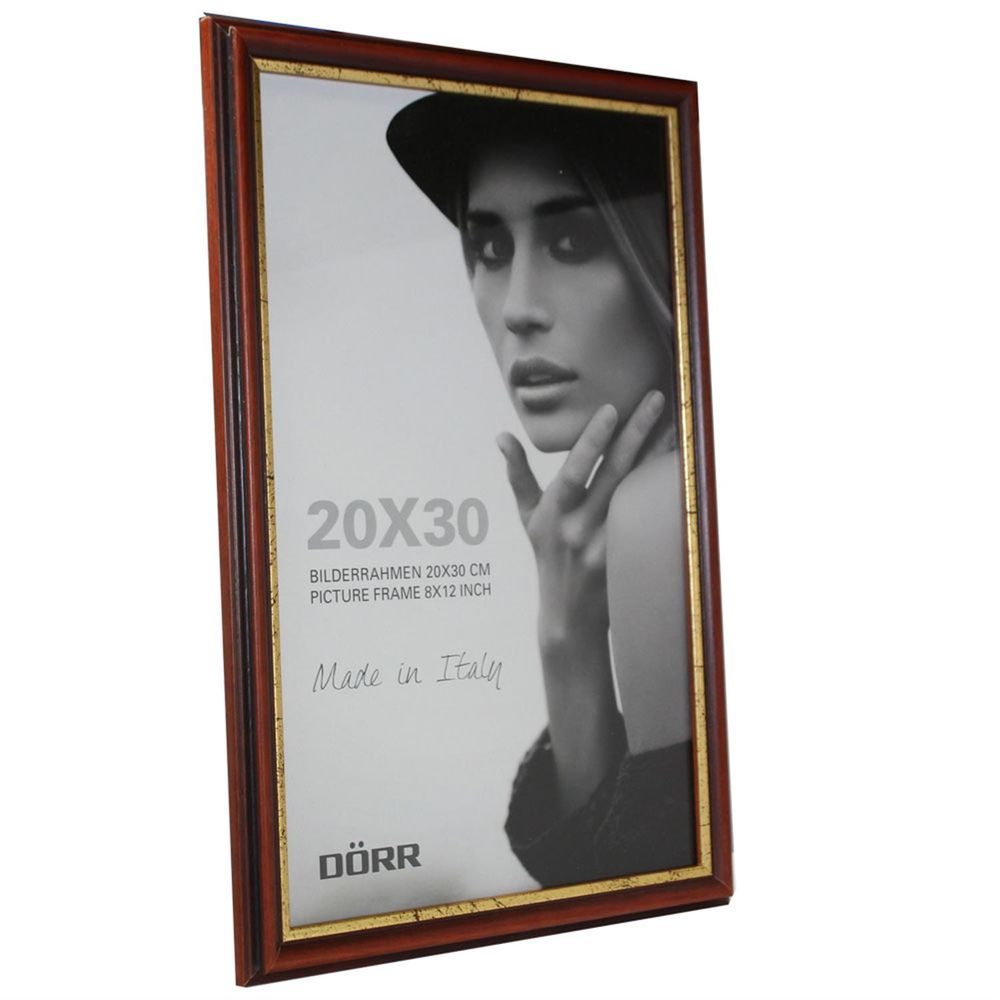 Dorr Tessin Mahogany and Gold Wood 12x8 Photo Frame