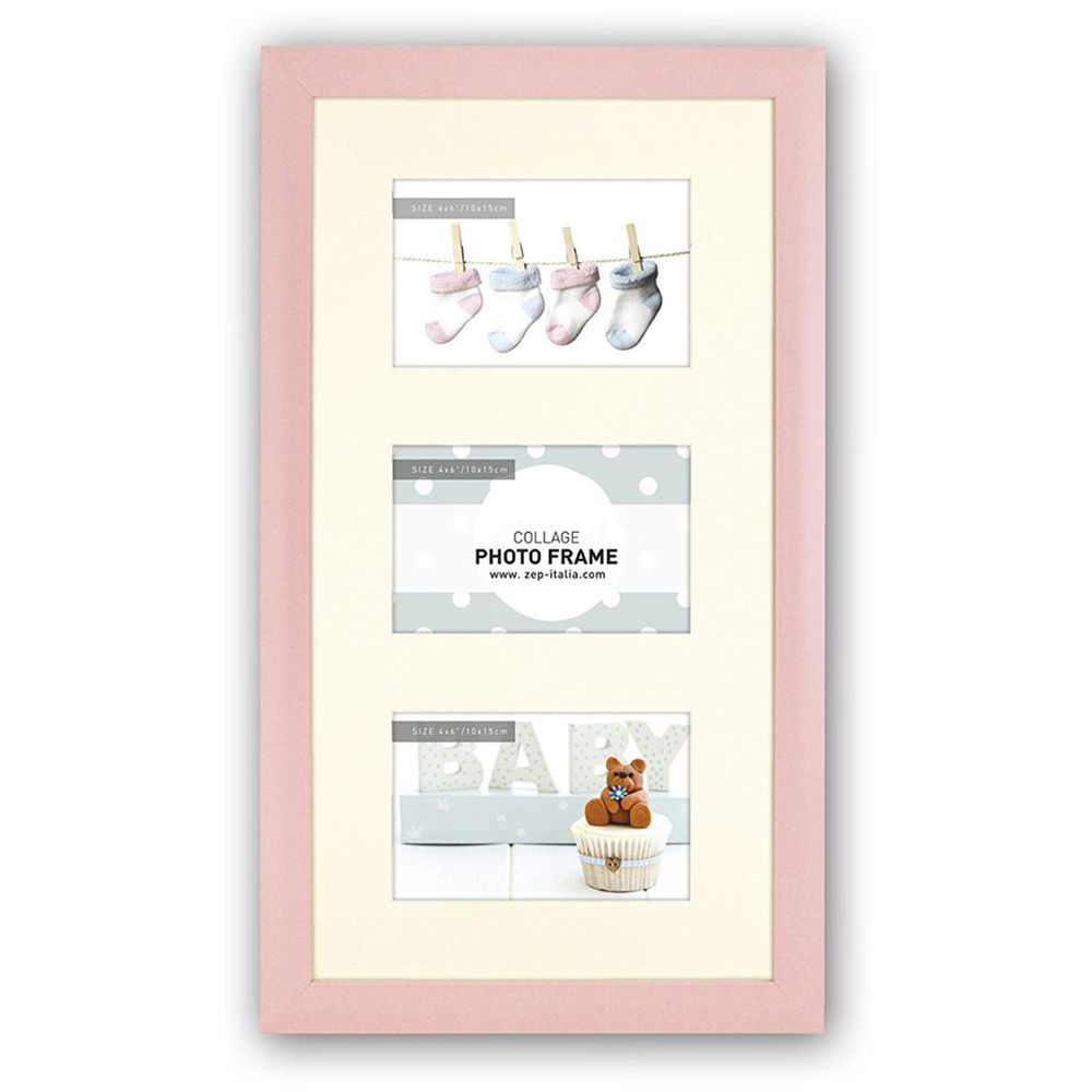 Emma P Baby Pink Photo Frame For 3 6x4 Inch Photos Overall Size 11x185 Inches