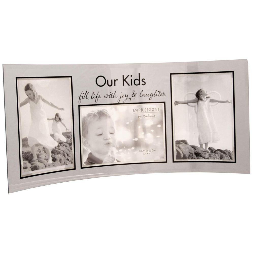 our kids curved glass triple 6x4 photo frame. Black Bedroom Furniture Sets. Home Design Ideas