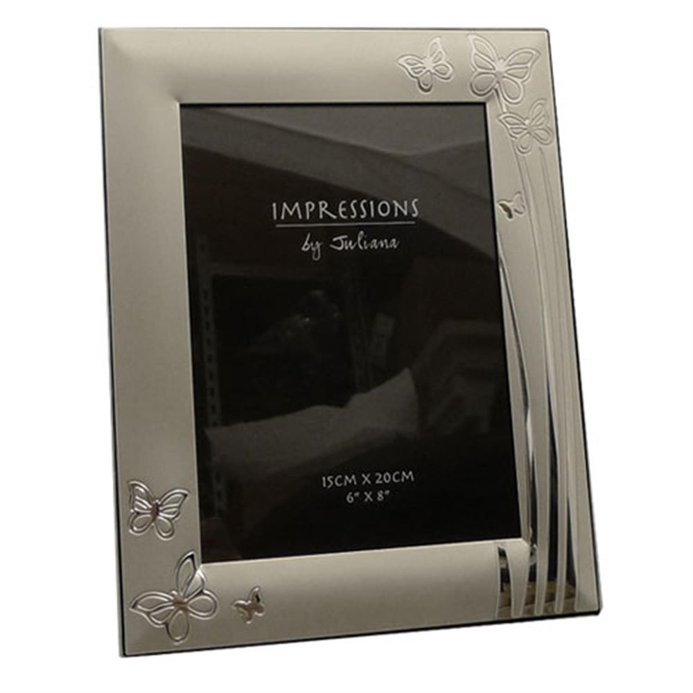 two tone silver plated butterfly 6x4 photo frame. Black Bedroom Furniture Sets. Home Design Ideas