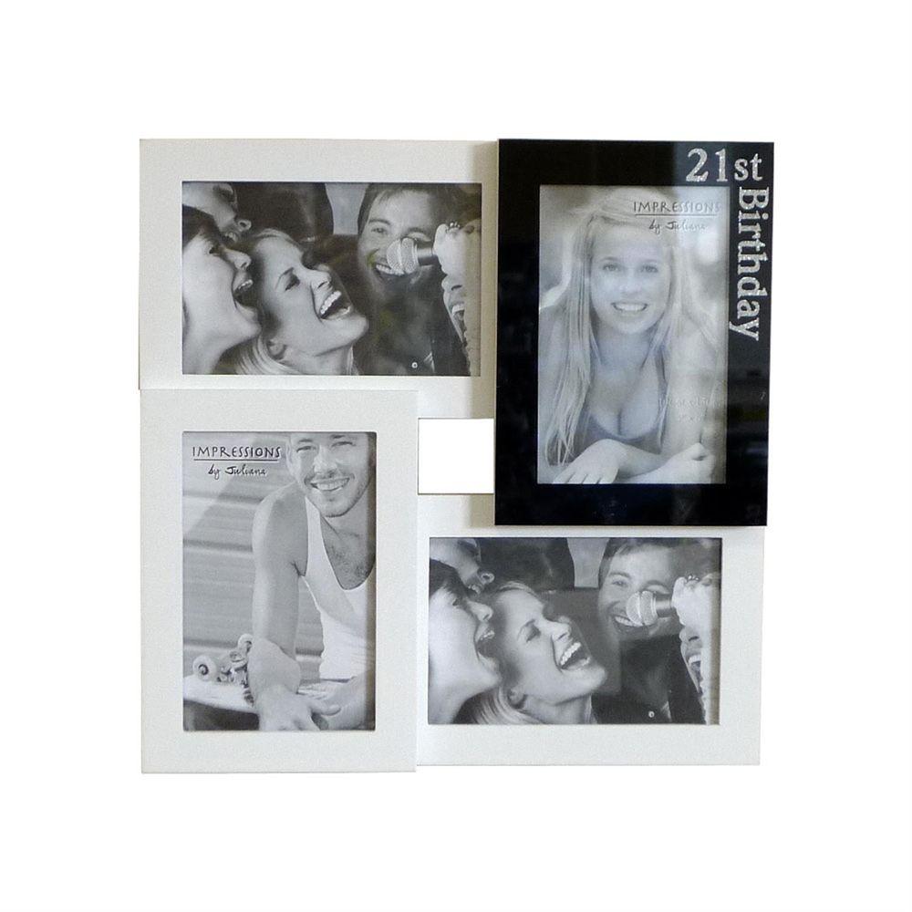 21st Birthday Multi Aperture Photo Frame For 4 6x4 Photos