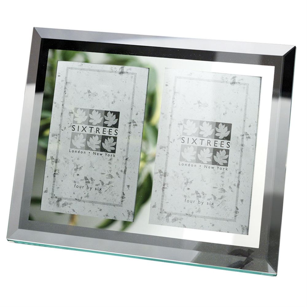 sixtrees stanbridge flat bevelled glass 6x4 double photo frame. Black Bedroom Furniture Sets. Home Design Ideas