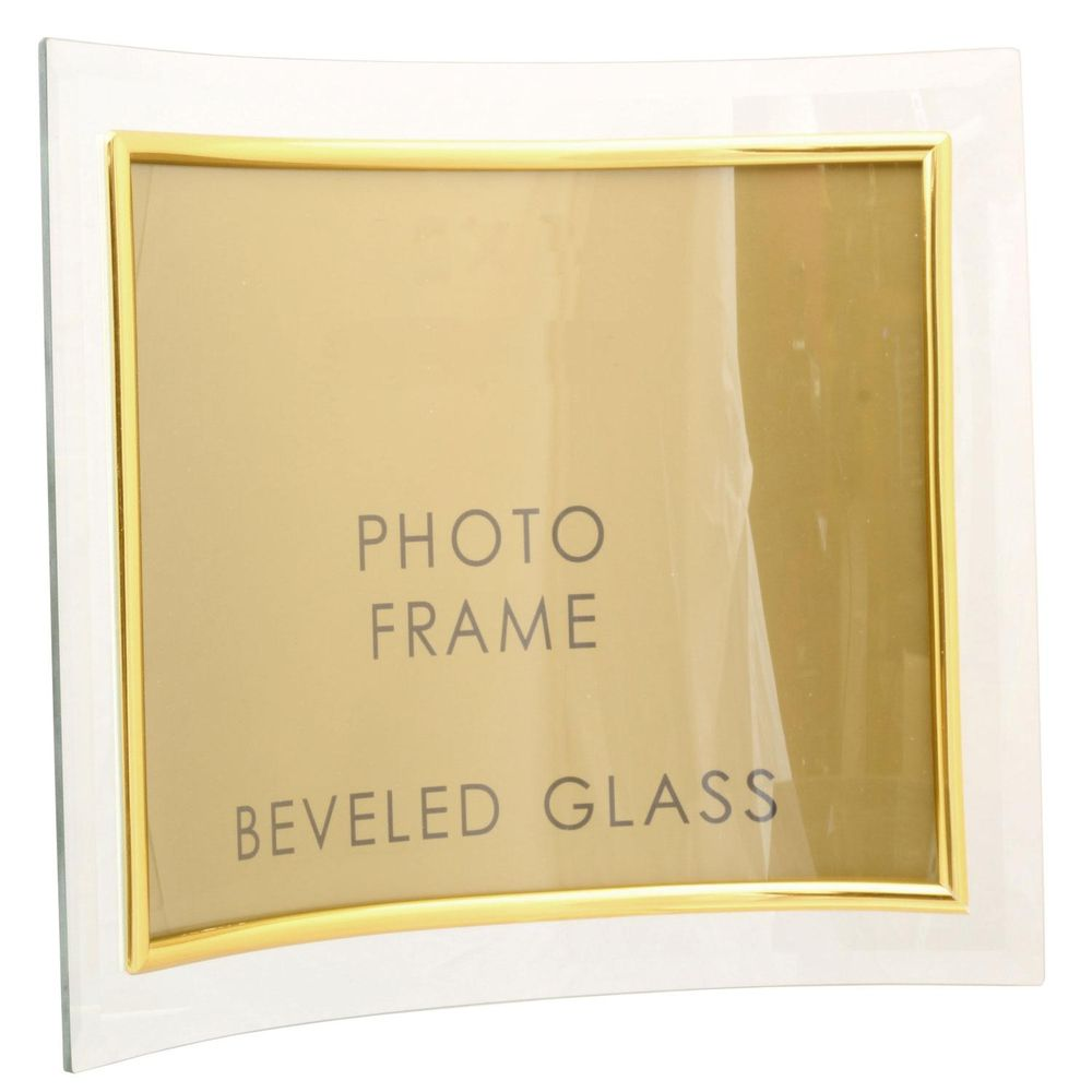 Sixtrees Curved Bevelled Glass Gold 6x4 Photo Frame Horizontal