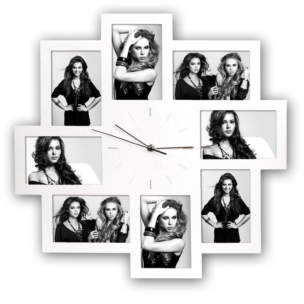 Trieste White Multi Aperture Photo Frame and Clock for 8 6x4 Photos