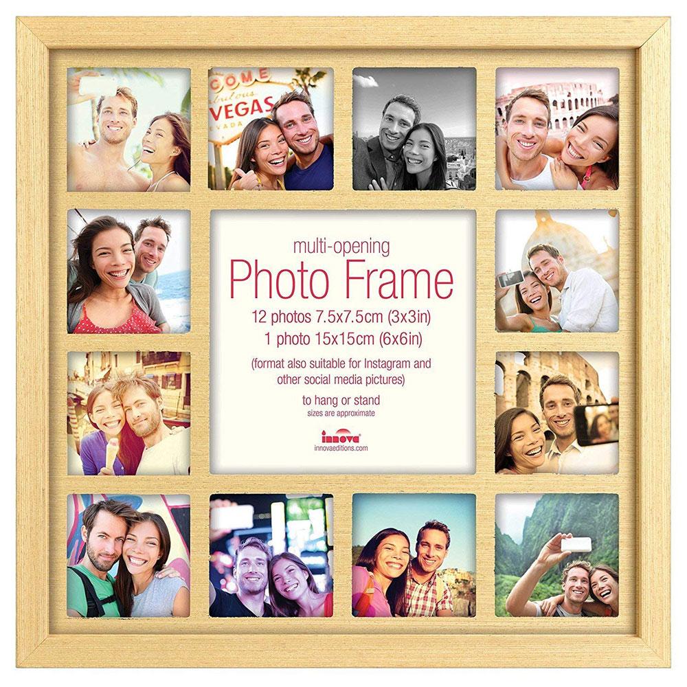 Multi Photo Frame Oak For 13 3x3 inch Instagram Photos