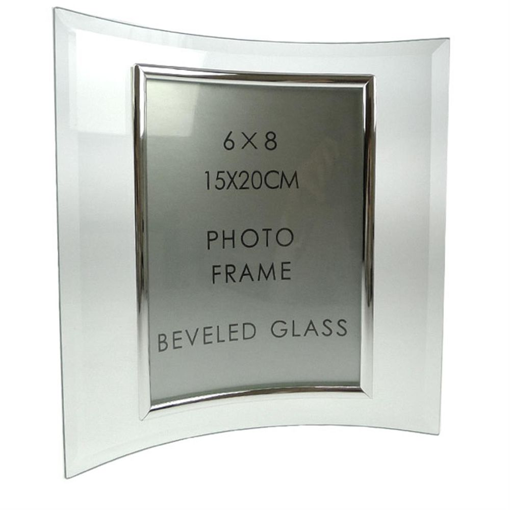 Sixtrees Curved Bevelled Glass Silver 8x6 Photo Frame Vertical