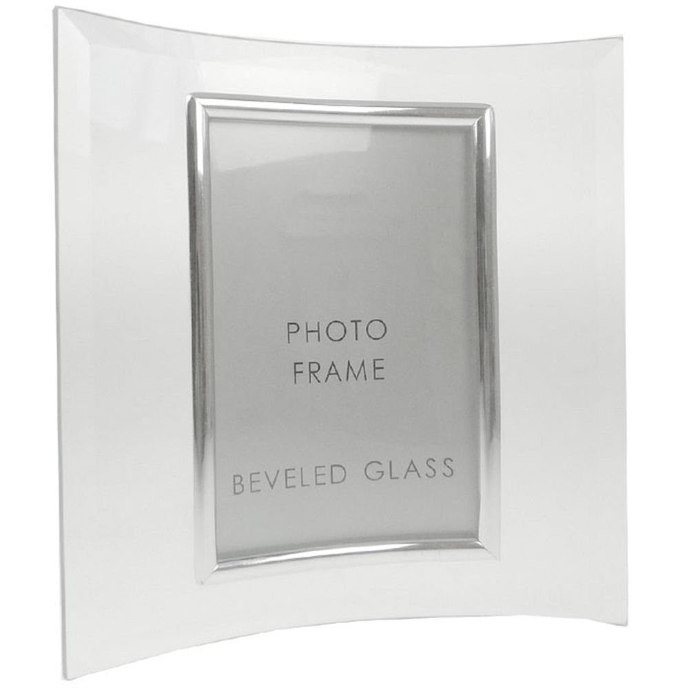 Sixtrees Curved Bevelled Glass Silver 10x8 Photo Frame Vertical