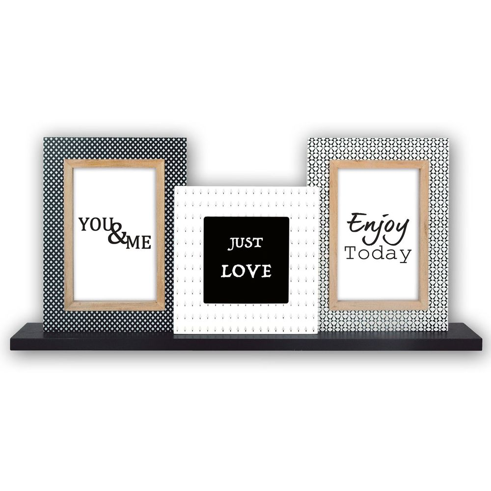 Roquette Criss Cross Multi Aperture Wood Photo Frame for 2 6x4 and 1 4x4  Photos