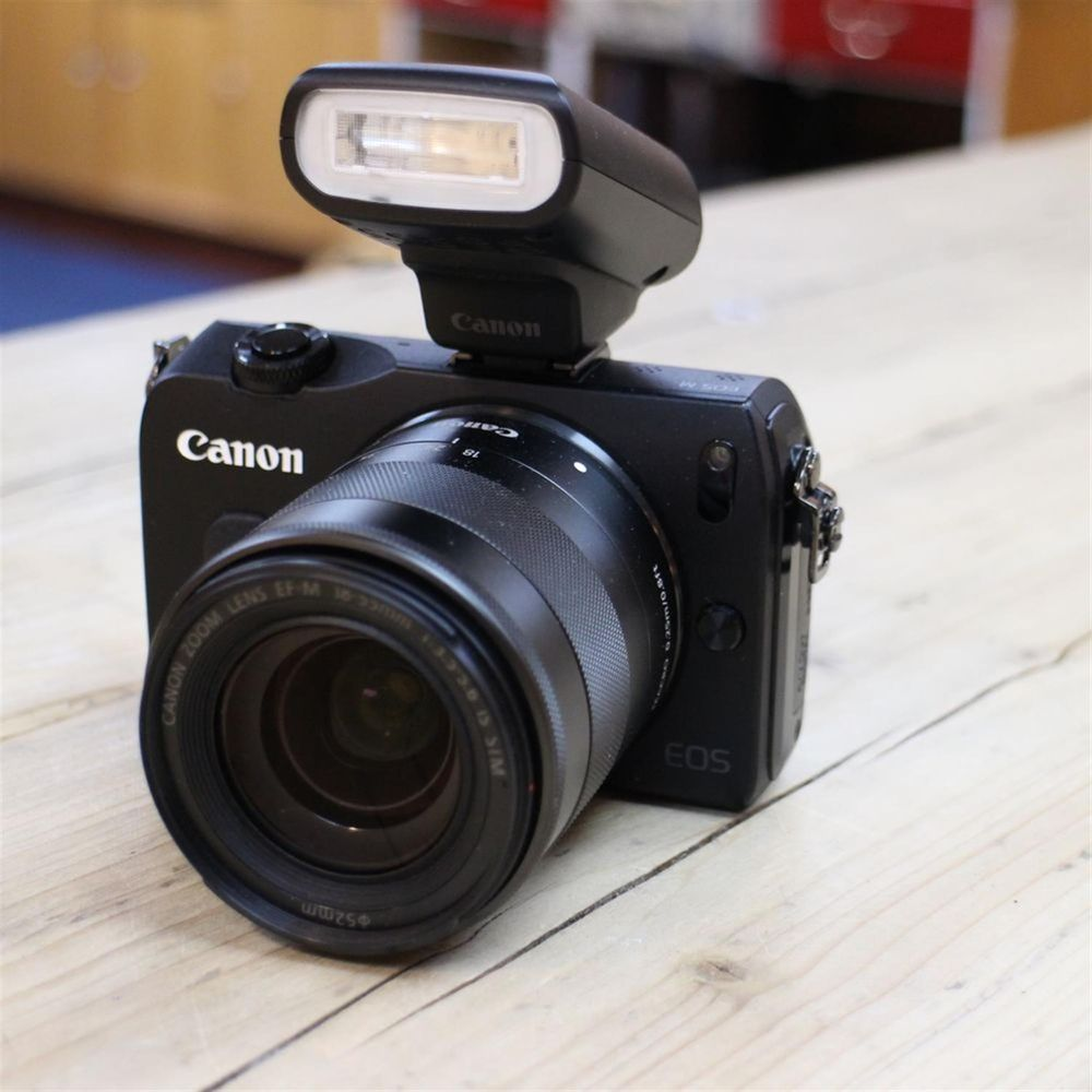 Used Canon EOS M Black Camera With 18 55mm IS STM Lens And
