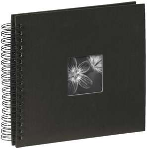 Black Spiral Photo Album Landscape 25 Black Pages 14x12.5 Inches Overall 50 Sides