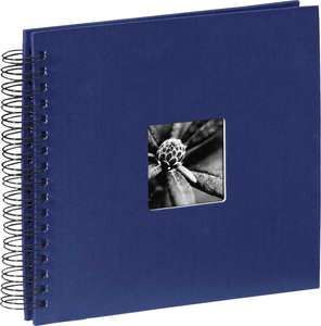 Blue Spiral Photo Album Landscape 25 Black Pages 10.5x9.25 Inches Overall 50 Sides