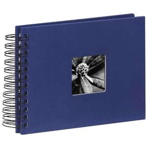 Blue Spiral Photo Album Landscape 25 Black Pages 8.75x6.75 Inches Overall 50 Sides