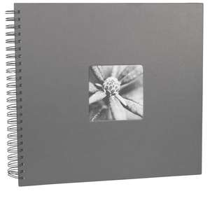 Grey Spiral Photo Album Landscape 25 Black Pages 14x12.5 Inches Overall 50 Sides