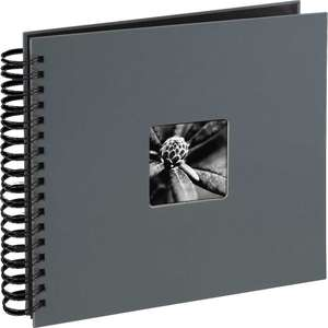 Grey Spiral Photo Album Landscape 25 Black Pages 10.5x9.25 Inches Overall 50 Sides