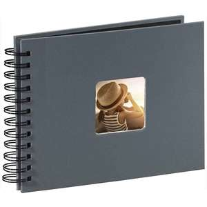 Grey Spiral Photo Album Landscape 25 Black Pages 8.75x6.75 Inches Overall 50 Sides