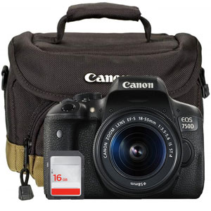 Canon 750D Kit with 18-55mm IS STM Lens, Card, Bag and Cloth