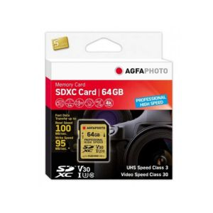 AgfaPhoto 64GB SDXC UHS-1 U3 Pro High Speed V30 Memory Card