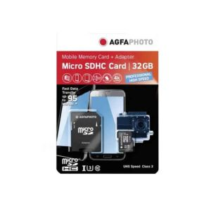 AgfaPhoto 32GB Micro SDXC UHS-1 U3 V30 Memory Card with Adapter