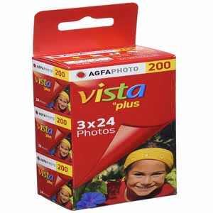 AgfaPhoto Vista Plus ISO 200 24 Exp 35mm Colour Print Film Triple Pack