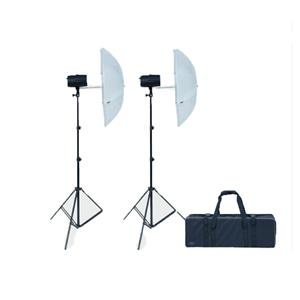 Dorr EcoLine DSU-110Ws Studio Flash Kit inc 2x Heads 2x Stands 2x Umbrellas