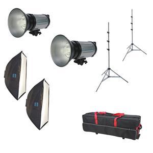 Dorr DE 250 Studio Flash Kit | 2X 250W Flash Heads | 2X Soft Boxes | 2X Light Stands | Carrying Case