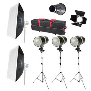 Dorr BL 160Ws Studio Flash Complete Kit | 3X 160W Flash Heads | 3X Stands | Case & More