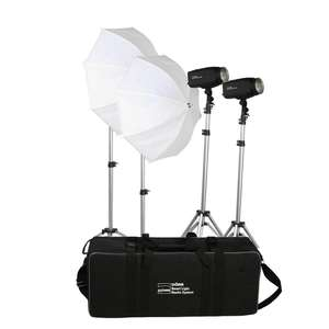 Dorr 200W Studio Flash Kit - 2x 200Ws Heads 2x Softboxes 2x Stands
