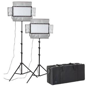 Dorr DLP-2000 LED Continuous Lighting Kit | 2 Light Heads | 2 Stands | 1 Studio Case | 12000 Lux/1m