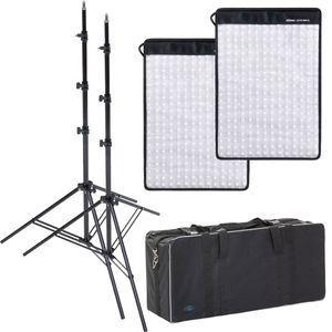 Dorr FX-3040 Flexible LED Light Panel Kit | 2 Light Panels | 2 Stands | 1 Bag | 5600K Daylight