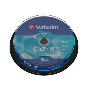 1x10 Verbatim CD-R 80min 700MB 52x Speed Extra Protection CB