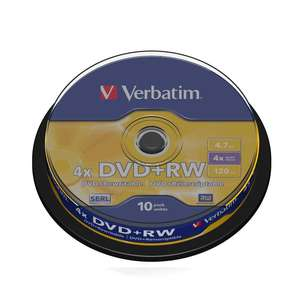 1x10 Verbatim DVD Plus RW 4,7GB 120mins 4x Speed Rewritable DVD Plus RW