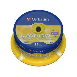 1x25 Verbatim DVD Plus RW 4,7GB 120mins 4x Speed Rewritable DVD Plus RW