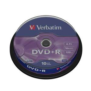 1x10 Verbatim DVD Plus R 4,7GB 120mins 16x Speed DVD Plus R