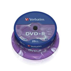 1x25 Verbatim DVD+R 4,7GB 16x Speed 120mins DVD Plus R