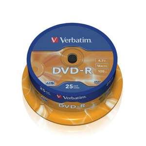 1x25 Verbatim DVD-R 4,7GB 120mins 16x Speed
