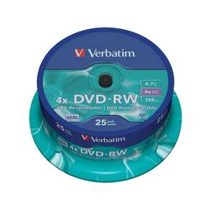 1x25 Verbatim DVD-RW 4,7GB 120mins 4x Speed Rewritable