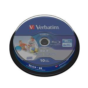 1x10 Verbatim BD-R Blu-Ray Disc 25GB 6x Speed DL Wide Printable Cakebox