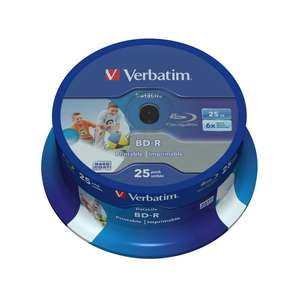 1x25 Verbatim BD-R Blu-Ray Disc 25GB 6x Speed DL Wide Printable Cakebox