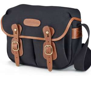 Billingham Hadley Small Shoulder Bag - Black Canvas Tan Leather