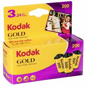 Kodak Gold 200 ISO 24 Exp 35mm Colour Print Film - Triple Pack