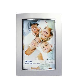 Curved Photo Frame | 6x4 inch | Matt Silver Finish | Stands