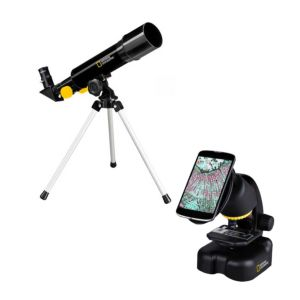 National Geographic telescope + microscope compact with smartphone holder
