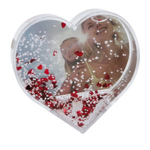 Dorr Heart Shaped Snow Globe with Snow and Red Hearts