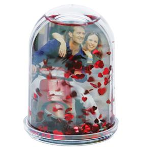 Dorr Photo Snow Globe | 4 inch Tall | Snow and Red Hearts