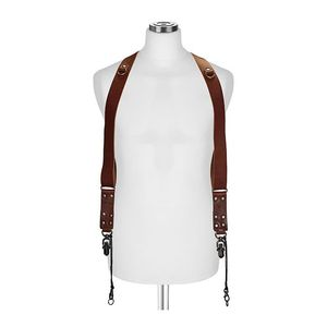 Barber Shop Sideburns Dark Brown Bull Leather Large Double Bridle Straps
