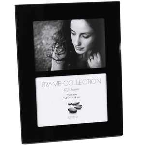 Black Glass Double 7x5 Inch Photo Frame Overall Size 9.5x13 Inches