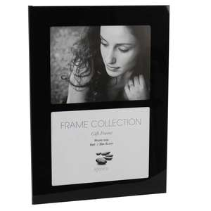 Black Glass Double Photo Frame for 2 8x6 Inch Photos