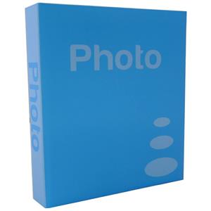 Basic Light Blue 6.5x4.5 Slip In Photo Album - 200 Photos Overall Size 10.5x8.25 Inches